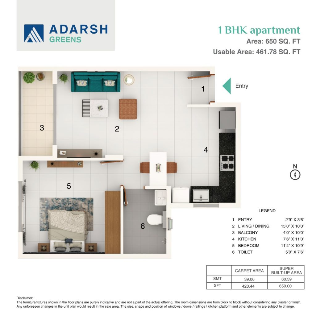 Adarsh Greens Jakkur 1BHK Floor Plan